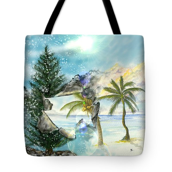 Tote Bag featuring the digital art Winter Vacation by Darren Cannell
