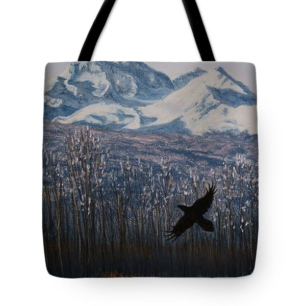 Tote Bag featuring the painting Winter Valley Raven by Stanza Widen