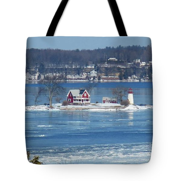 Winter View Of Crossover Island Tote Bag