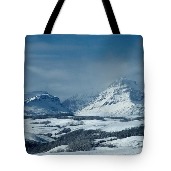 Winter View Of Rising Wolf Mountain Tote Bag