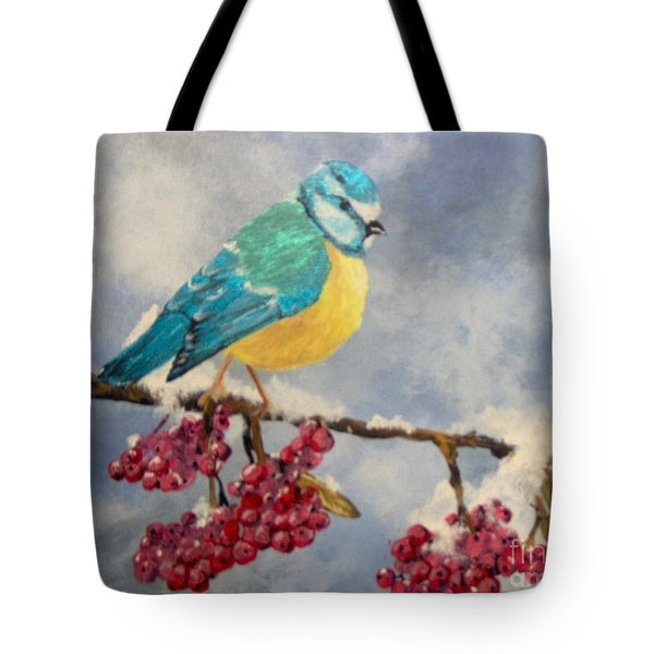 Tote Bag featuring the painting Winter Watch by Saundra Johnson