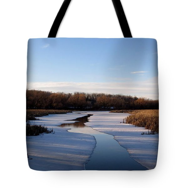 Tote Bag featuring the photograph Winter Waters At Lake Kegonsa by Kimberly Mackowski