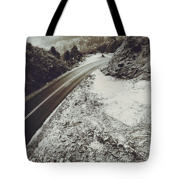 Winter Weather Road Tote Bag