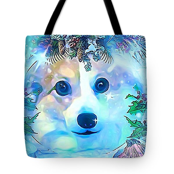 Tote Bag featuring the digital art Winter Welsh Corgi by Kathy Kelly