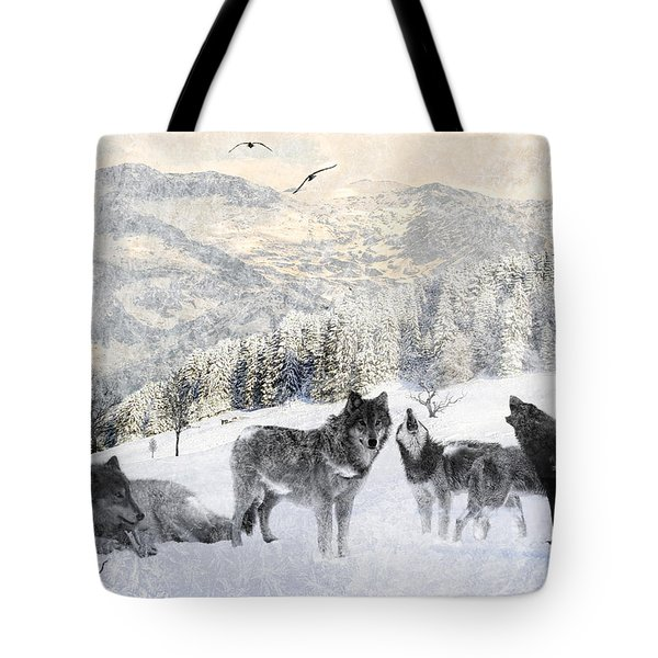 Winter Wolves Tote Bag by Lourry Legarde