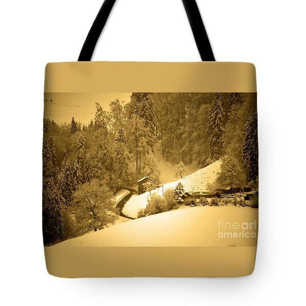 Tote Bag featuring the photograph Winter Wonderland In Switzerland - Up The Hills by Susanne Van Hulst