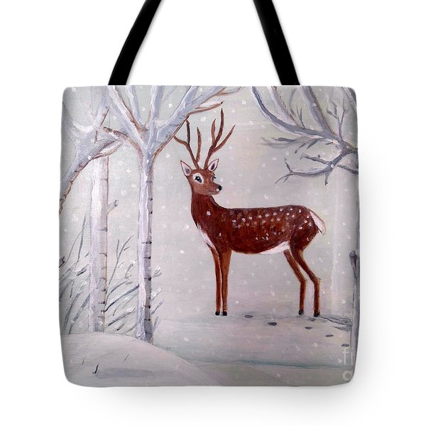 Winter Wonderland - Painting Tote Bag by Veronica Rickard