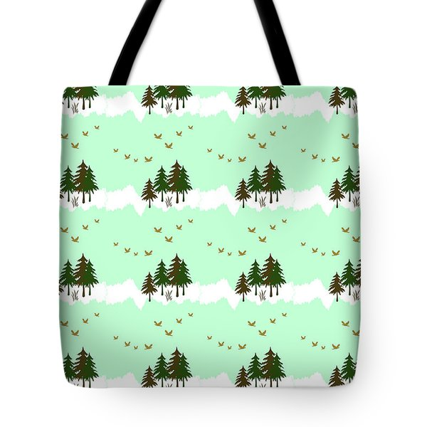 Tote Bag featuring the mixed media Winter Woodlands Bird Pattern by Christina Rollo
