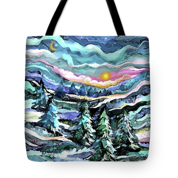 Winter Woods At Dusk Tote Bag
