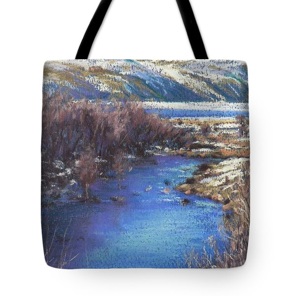 Winter's Edge, Flat Creek Jackson Tote Bag by Louise Green