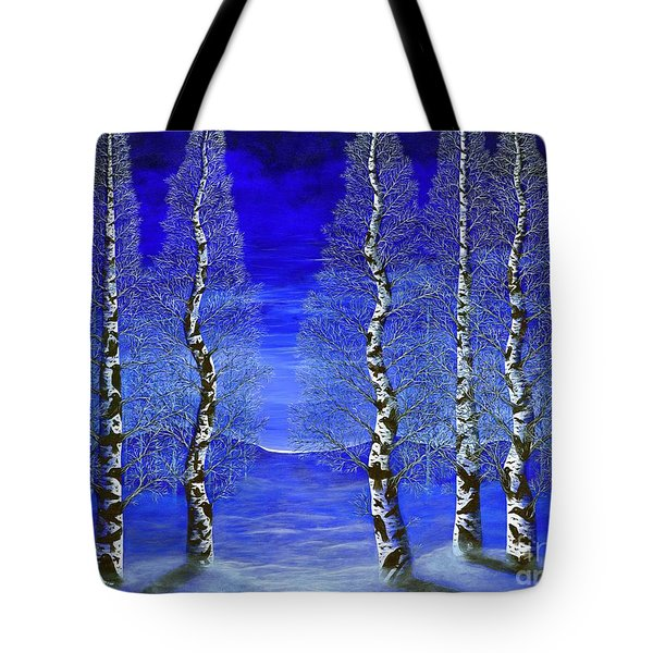 Tote Bag featuring the painting Winters Raven Aspen by Rebecca Parker