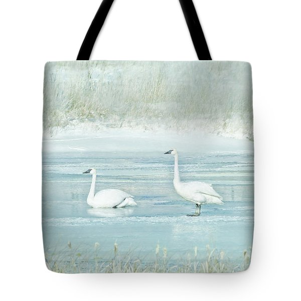 Tote Bag featuring the photograph Trumpeter Swan's Winter Rest Blue by Jennie Marie Schell