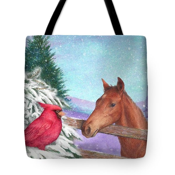 Winterscape With Horse And Cardinal Tote Bag by Judith Cheng