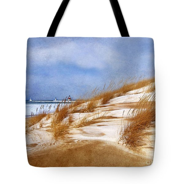 Tote Bag featuring the photograph Wintertime St. Joe Lighthouse  by Kathi Mirto