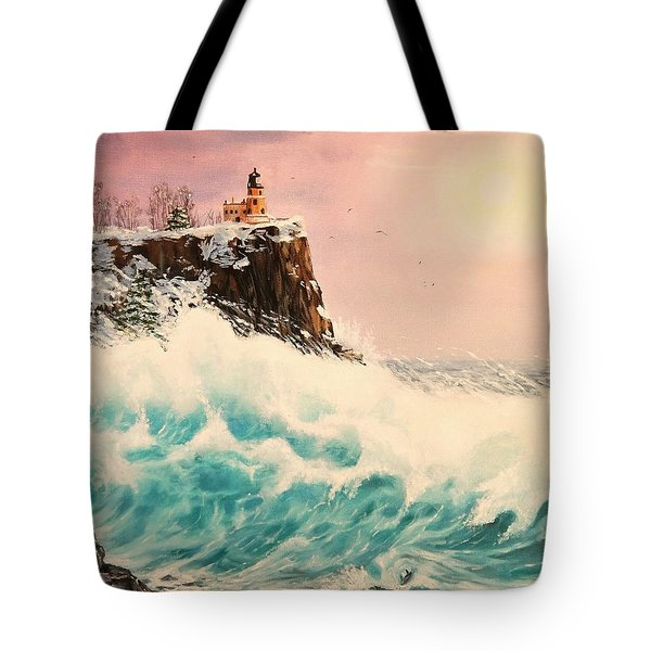 Wintery Northern Lighthouse  Tote Bag