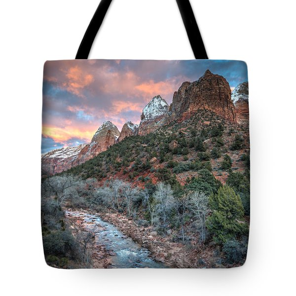 Wintery Sunset At Zion National Park Tote Bag
