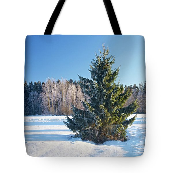 Wintry Fir Tree Tote Bag by Teemu Tretjakov