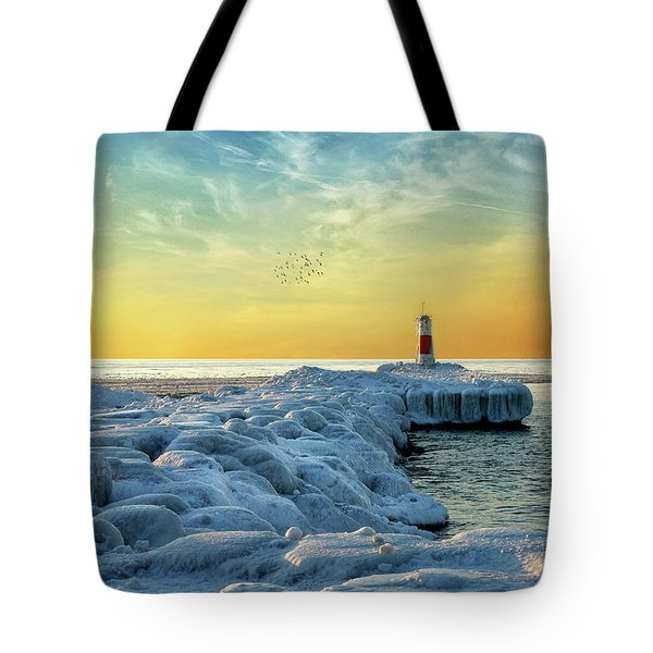 Wintry River Channel Tote Bag