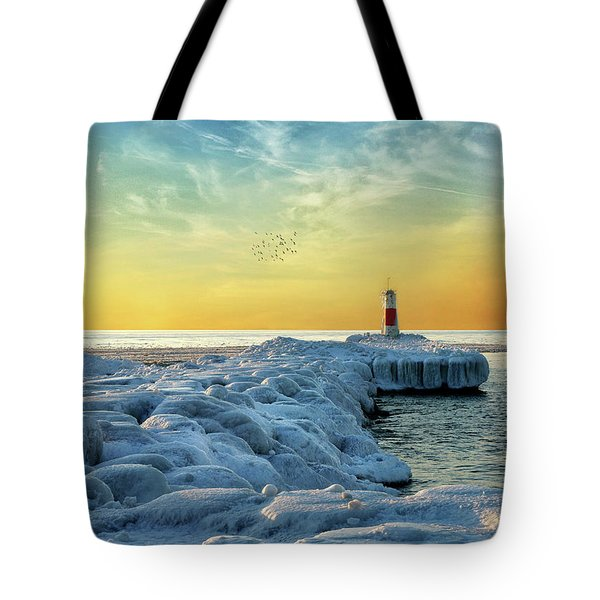 Wintry River Channel Tote Bag by Kathi Mirto