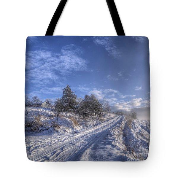 Wintry Road Tote Bag
