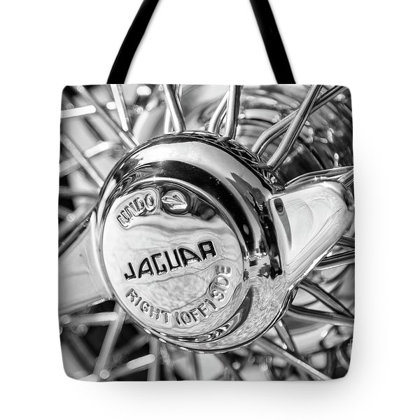 Tote Bag featuring the photograph Wire Wheel Black And White by Dennis Hedberg