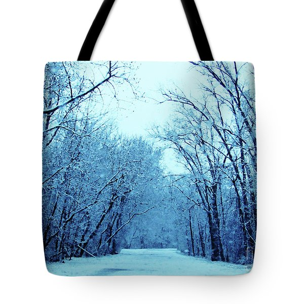Wisconsin Frosty Road In Winter Ice Tote Bag