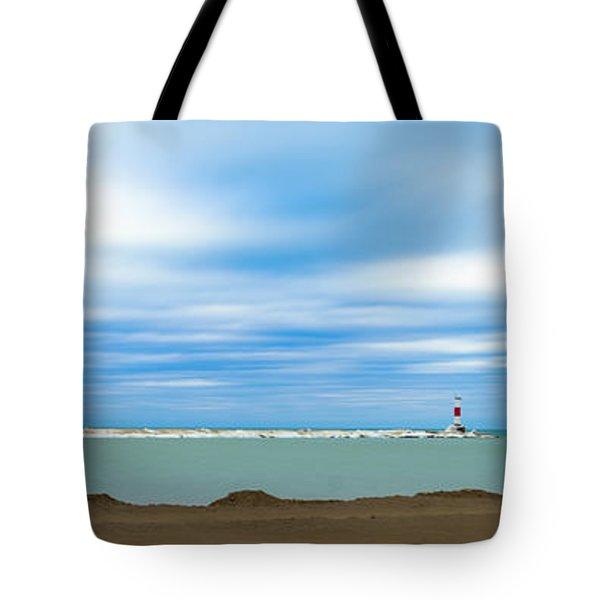 Wisconsin Winter Lakefront Tote Bag