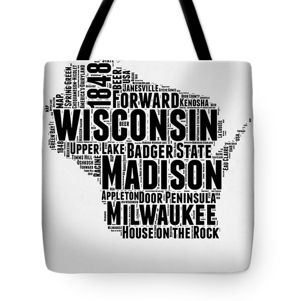 Wisconsin Word Cloud Map 2 Tote Bag