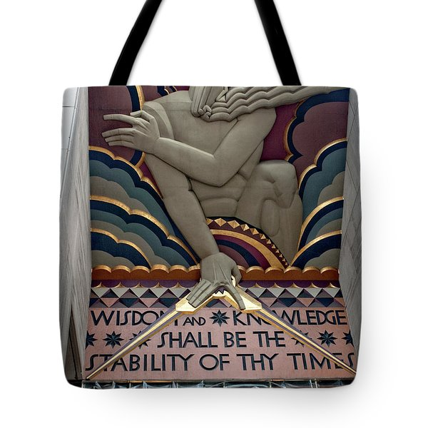 Tote Bag featuring the photograph Wisdom Lords Over Rockefeller Center by Lorraine Devon Wilke