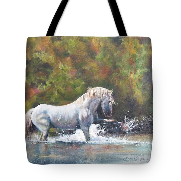 Tote Bag featuring the painting Wisdom Of The Wild by Karen Kennedy Chatham