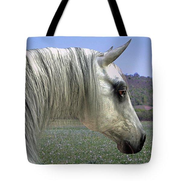 Tote Bag featuring the digital art Wise Grey Mare by Jayne Wilson