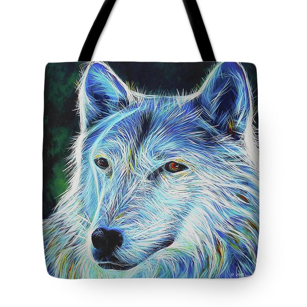 Tote Bag featuring the painting Wise White Wolf by Angela Treat Lyon