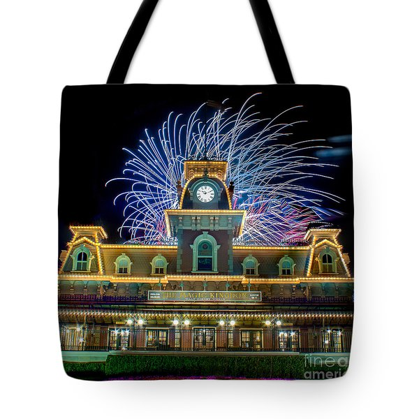 Wishes Over Magic Kingdom Train Station. Tote Bag