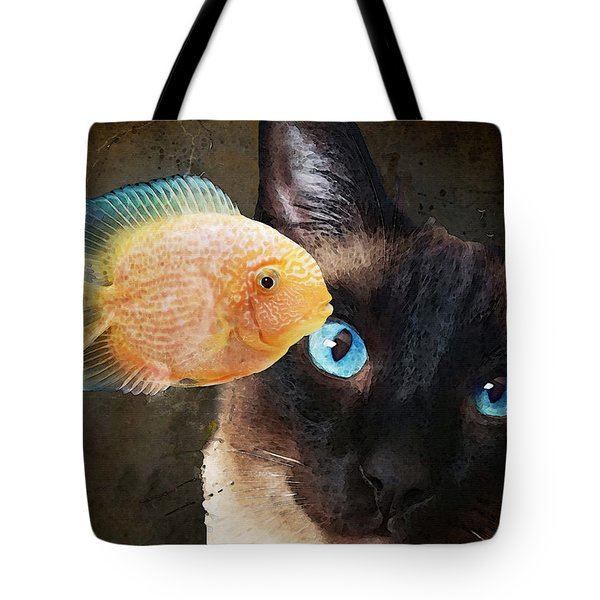 Wishful Thinking 2 - Siamese Cat Art - Sharon Cummings Tote Bag