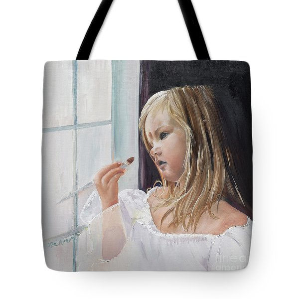 Tote Bag featuring the painting Wishful Thinking - Megan - Signed by Jan Dappen