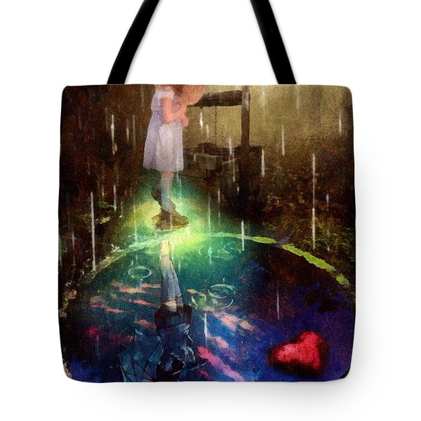 Tote Bag featuring the painting Wishing Well by Mo T