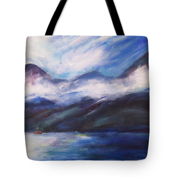 Tote Bag featuring the painting Wispy Clouds by Yulia Kazansky