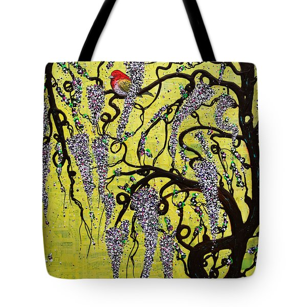 Tote Bag featuring the mixed media Wisteria Delight by Natalie Briney