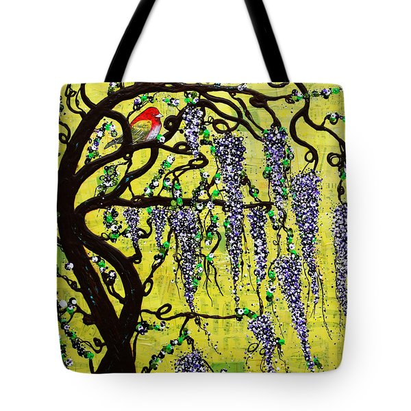 Tote Bag featuring the mixed media Wisteria Joy by Natalie Briney