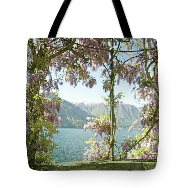 Wisteria Trellis Lago Di Como Tote Bag by Brooke T Ryan