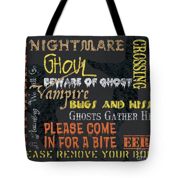 Witchcraft Typography Tote Bag by Debbie DeWitt