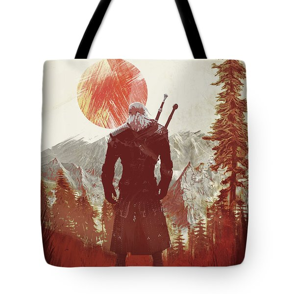 Tote Bag featuring the digital art Witcher 3 by IamLoudness Studio