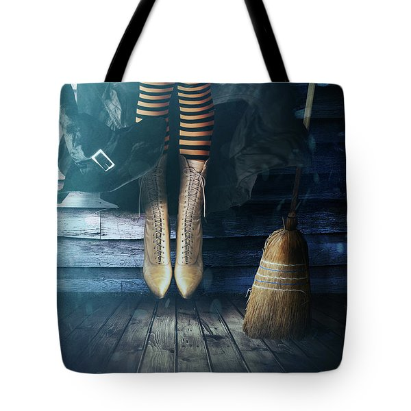 Witch's Legs With Broom Tote Bag by Sandra Cunningham