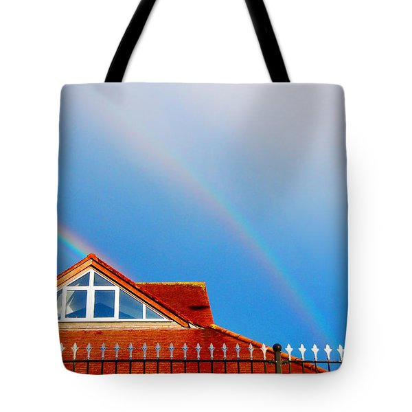 With Double Bless Of Rainbow Tote Bag by Jenny Rainbow