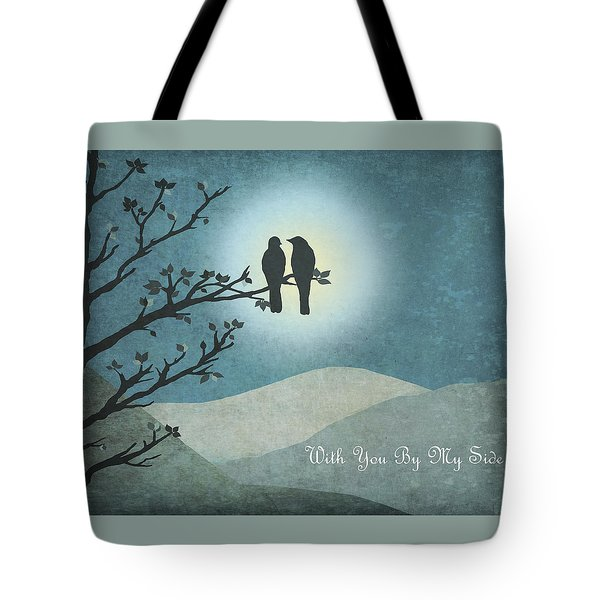 Tote Bag featuring the digital art With You By My Side Landscape View by Christina Lihani
