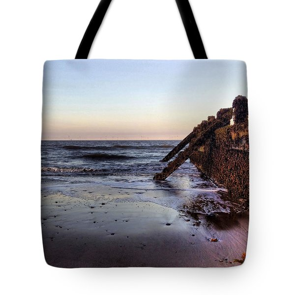 Withernsea Groynes At Sunset Tote Bag
