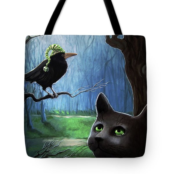 Tote Bag featuring the painting Wit's End - Winter Nightime Forest by Linda Apple