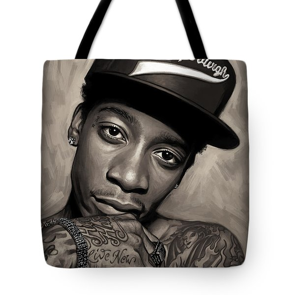 Tote Bag featuring the painting Wiz Khalifa Artwork  by Sheraz A