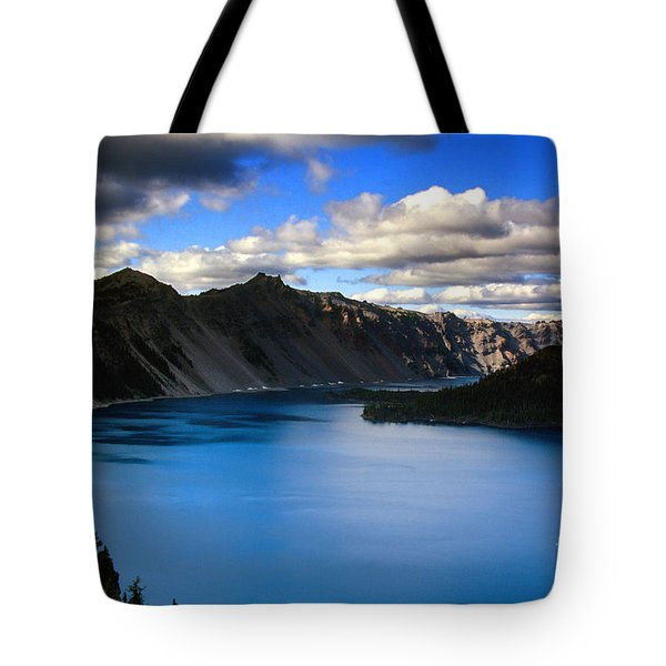 Wizard Island Stormy Sky- Crater Lake Tote Bag