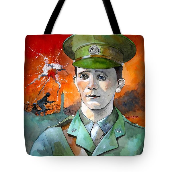 Tote Bag featuring the painting W.j. Symons Vc by Ray Agius